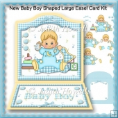 New Baby Boy Shaped Large Easel Card Kit