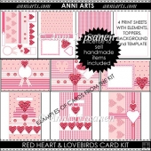 Red Heart and Lovebirds Card Kit