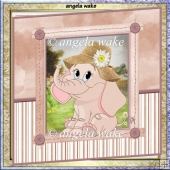 bonnet Elephant 7.5x7.5 card with decoupage