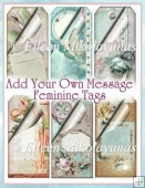 Add Your Own Message Feminine Floral Cottage Chic Tag Set