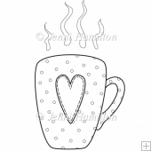 Heart Mug Digital Stamp