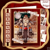 CHRISTMAS BIKER Humorous 7.5 Decoupage & Insert Kit