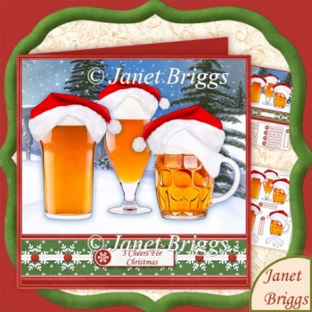 3 Cheers for Christmas Beer 8x8 Decoupage Kit
