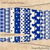 10 Blue Country Chic 8x8 Papers