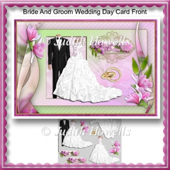 Bride And Groom Wedding Day Card Front