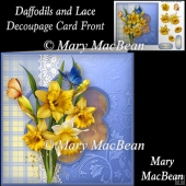 Daffodils and Lace Decoupage Card Front