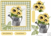 sunflowers in a watering can