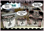 Paris Boutique Gift Set - Tissue Box, Soap/Gift Box, Gift Bag