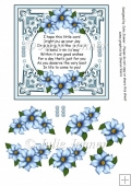 Blue Flower Frame A4 sheet with floral decoupage