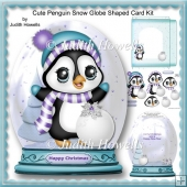 Cute Penguin Snow Globe Shaped Card Kit