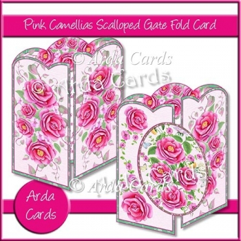 Pink Camellias Scalloped Gate Fold Card