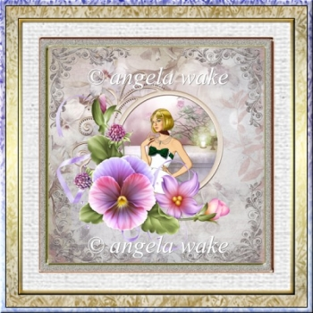 Pansy and lady 7x7 card with decoupage
