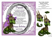 8 x 8 Pisces Zodiac Birthday Gemstone Dragon Decoupage Card Topp