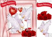 lovely white doves and red roses for my valentine 8x8