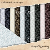 10 White n Black Lace A4 Papers