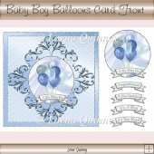 Baby Boy Balloons Card Front