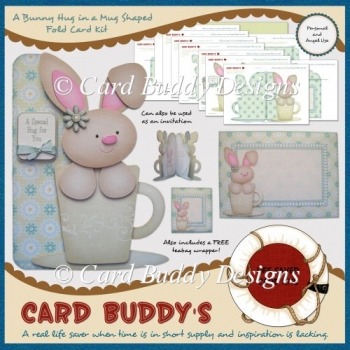 A Bunny Hug in a Mug Shaped Fold Card Kit