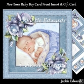 New Born Baby Boy Card Front Insert & Gift Card