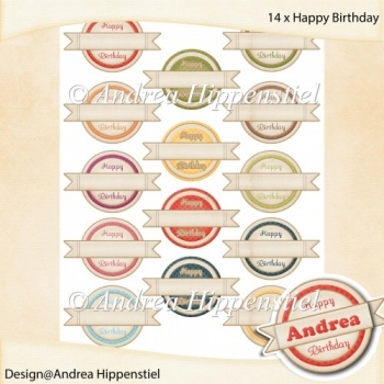 Mini Banner Round Happy Birthday