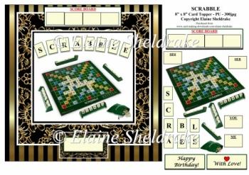 Scrabble Word Game - 8 x 8 Fun Card Topper With Decoupage