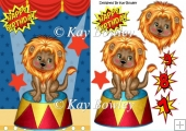 Lovely Lion sitting on a stand in the circus A5