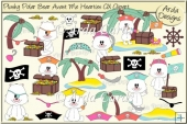 Plushy Polar Bear Avast Me Hearties CU Clipart