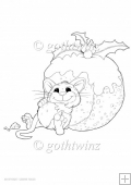 Christmas Pudding Mouse Digital Stamp