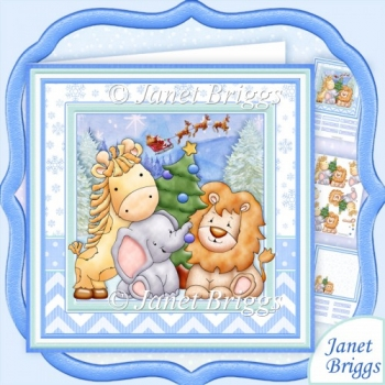 ANIMALS CHRISTMAS TREE 8x8 Baby Boy or Children Decoupage Kit