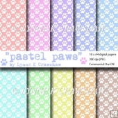 PASTEL PAWS - 10 x A4 high quality digital papers CUOK
