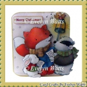 Foxes Carol Christmas Shaped Fold Card Kit