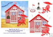 Thinking Of You Red & White Beach Hut (3) 6 x 6 Card Topper