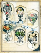 Steampunk Hot Air Balloons and Vintage Roses Tag Set