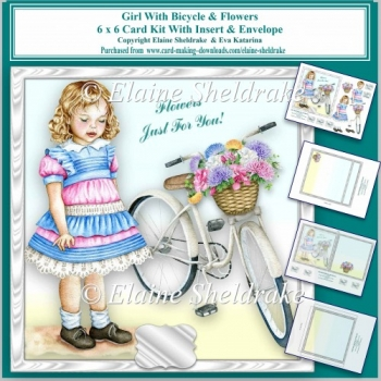6 x 6 Girl With Bicycle & Flowers Card Kit & Insert & Envelope