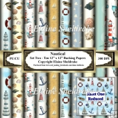 Nautical With Lighthouses - Set Two - Ten 12 x 12 backing Papers