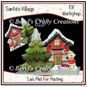 Santa's Village 3D Tree Cards - Elf Workshop