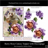 Berry Rose Cutesy Topper with Decoupage