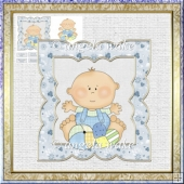 Baby boy 7x7 card with decoupage