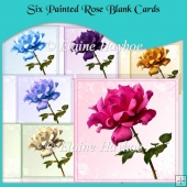 Six Painted Rose Blank Cards