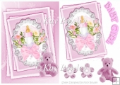 pink teddy with baby girl design on lace wirth stackers A5