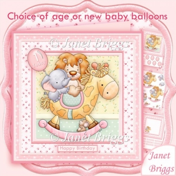 ANIMAL ROCK New Baby Girl or Birthday Decoupage Insert Ages Kit