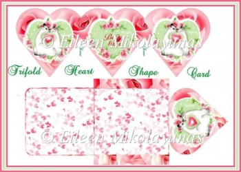 Valentine Kitty Trifold Heart Shape Card Set