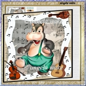 Dancing hippo card with decoupage and sentiment tags