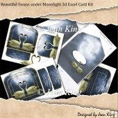 Beautiful Swans under Moonlight 3d Easel Card Kit