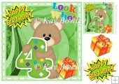 Look who's FOUR! Cute birthday bear with cupcakes 8x8