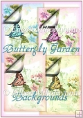 Watercolor Butterfly Garden Backing Background Papers