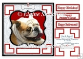 English Bulldog Dog & Bone (5) - 7.5 x 7.5 Card Topper With Gree