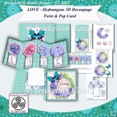 LOVE - Hydrangeas 3D Decoupage Twist and Pop Card