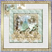 Reindeer in the hills 7x7 card with decoupage