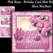 Pink Roses - Birthday Card Mini Kit