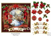 Red And Gold Christmas Scene Card Front